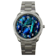Underwater Abstract Seamless Pattern Of Blues And Elongated Shapes Sport Metal Watch