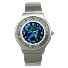 Underwater Abstract Seamless Pattern Of Blues And Elongated Shapes Stainless Steel Watch