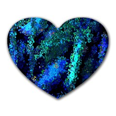 Underwater Abstract Seamless Pattern Of Blues And Elongated Shapes Heart Mousepads