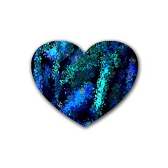 Underwater Abstract Seamless Pattern Of Blues And Elongated Shapes Rubber Coaster (Heart)