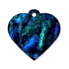 Underwater Abstract Seamless Pattern Of Blues And Elongated Shapes Dog Tag Heart (one Side)