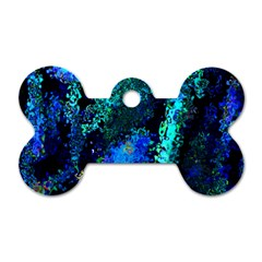 Underwater Abstract Seamless Pattern Of Blues And Elongated Shapes Dog Tag Bone (Two Sides)