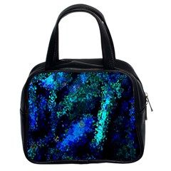 Underwater Abstract Seamless Pattern Of Blues And Elongated Shapes Classic Handbags (2 Sides)