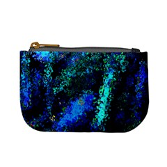 Underwater Abstract Seamless Pattern Of Blues And Elongated Shapes Mini Coin Purses