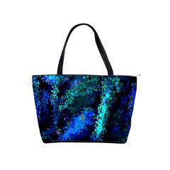 Underwater Abstract Seamless Pattern Of Blues And Elongated Shapes Shoulder Handbags