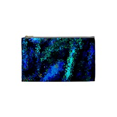 Underwater Abstract Seamless Pattern Of Blues And Elongated Shapes Cosmetic Bag (Small)