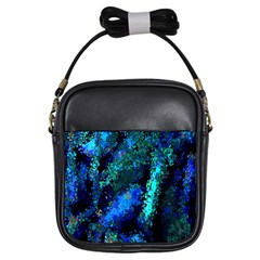 Underwater Abstract Seamless Pattern Of Blues And Elongated Shapes Girls Sling Bags