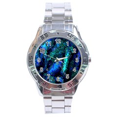Underwater Abstract Seamless Pattern Of Blues And Elongated Shapes Stainless Steel Analogue Watch