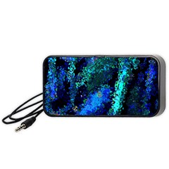 Underwater Abstract Seamless Pattern Of Blues And Elongated Shapes Portable Speaker (black)