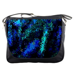 Underwater Abstract Seamless Pattern Of Blues And Elongated Shapes Messenger Bags