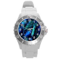 Underwater Abstract Seamless Pattern Of Blues And Elongated Shapes Round Plastic Sport Watch (L)