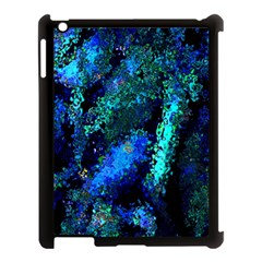 Underwater Abstract Seamless Pattern Of Blues And Elongated Shapes Apple iPad 3/4 Case (Black)