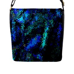 Underwater Abstract Seamless Pattern Of Blues And Elongated Shapes Flap Messenger Bag (L)