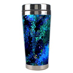 Underwater Abstract Seamless Pattern Of Blues And Elongated Shapes Stainless Steel Travel Tumblers
