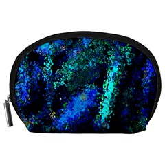 Underwater Abstract Seamless Pattern Of Blues And Elongated Shapes Accessory Pouches (large)