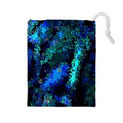 Underwater Abstract Seamless Pattern Of Blues And Elongated Shapes Drawstring Pouches (large)