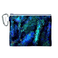 Underwater Abstract Seamless Pattern Of Blues And Elongated Shapes Canvas Cosmetic Bag (L)