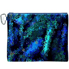 Underwater Abstract Seamless Pattern Of Blues And Elongated Shapes Canvas Cosmetic Bag (XXXL)
