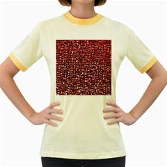 Red Box Background Pattern Women s Fitted Ringer T-Shirts