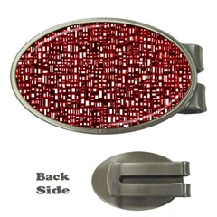 Red Box Background Pattern Money Clips (oval)
