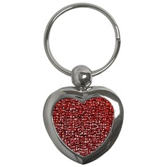 Red Box Background Pattern Key Chains (Heart)
