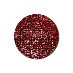 Red Box Background Pattern Rubber Round Coaster (4 pack)