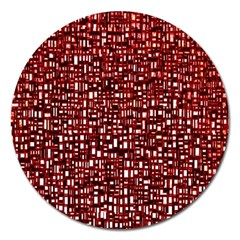 Red Box Background Pattern Magnet 5  (Round)