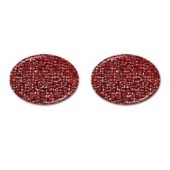 Red Box Background Pattern Cufflinks (Oval)