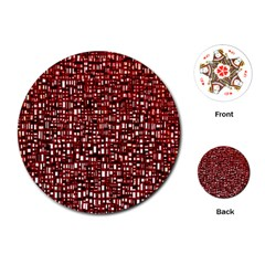 Red Box Background Pattern Playing Cards (round)