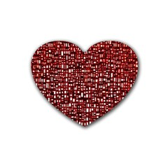 Red Box Background Pattern Rubber Coaster (Heart)