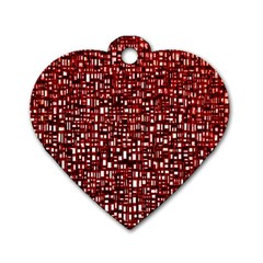 Red Box Background Pattern Dog Tag Heart (Two Sides)