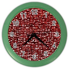 Red Box Background Pattern Color Wall Clocks