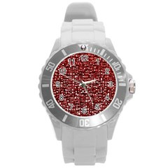 Red Box Background Pattern Round Plastic Sport Watch (l)