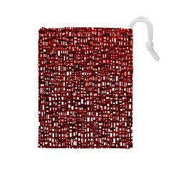 Red Box Background Pattern Drawstring Pouches (large)