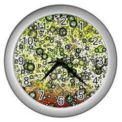 Chaos Background Other Abstract And Chaotic Patterns Wall Clocks (silver)