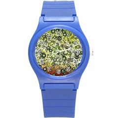 Chaos Background Other Abstract And Chaotic Patterns Round Plastic Sport Watch (S)