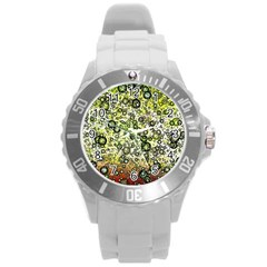 Chaos Background Other Abstract And Chaotic Patterns Round Plastic Sport Watch (l)