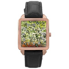 Chaos Background Other Abstract And Chaotic Patterns Rose Gold Leather Watch