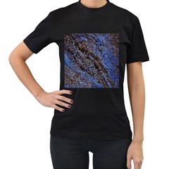 Cracked Mud And Sand Abstract Women s T Shirt (black) (two Sided)