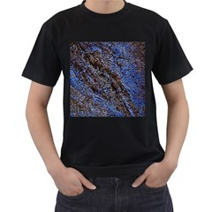 Cracked Mud And Sand Abstract Men s T-Shirt (Black)