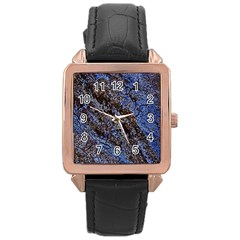 Cracked Mud And Sand Abstract Rose Gold Leather Watch