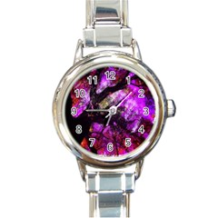 Pink Abstract Tree Round Italian Charm Watch