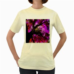 Pink Abstract Tree Women s Yellow T-Shirt