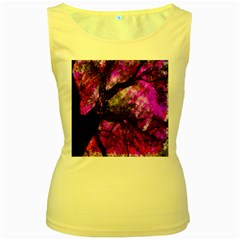 Pink Abstract Tree Women s Yellow Tank Top