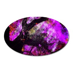 Pink Abstract Tree Oval Magnet
