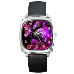 Pink Abstract Tree Square Metal Watch