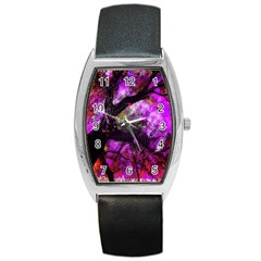 Pink Abstract Tree Barrel Style Metal Watch