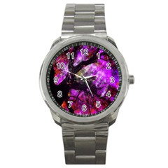 Pink Abstract Tree Sport Metal Watch