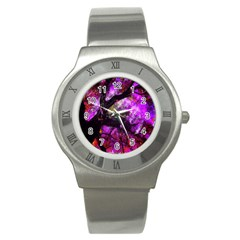 Pink Abstract Tree Stainless Steel Watch