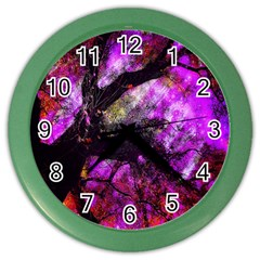 Pink Abstract Tree Color Wall Clocks